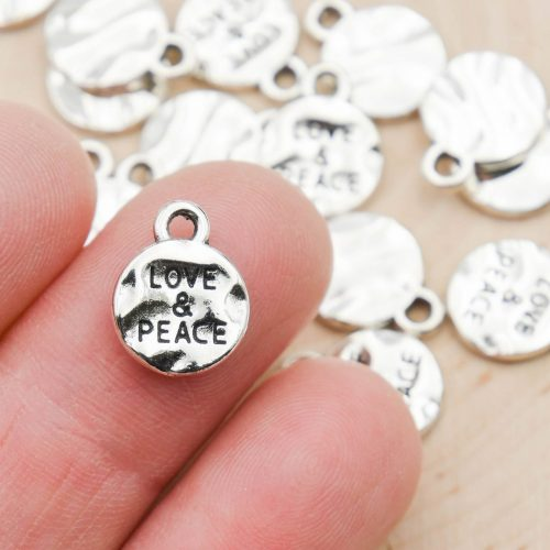 10 Love & Peace Charms, Round Stamed Metal, Silver Pendants-  Alloy Metal - C1204