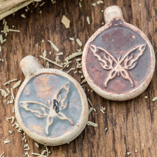 2 Clay Butterfly  Pendants,  High Fired Clay, Round Natural Color, Animal  Pendants, Jewelry Supply