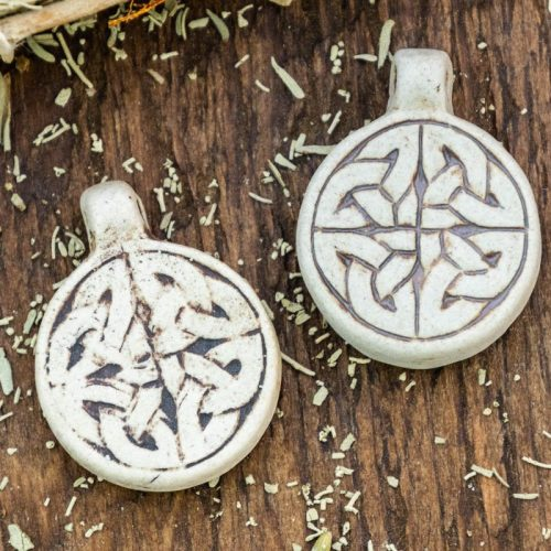 2 Clay Celtic Knot  Pendants,  High Fired Clay, Round Natural Color, Mens Pendants, Jewelry Supply
