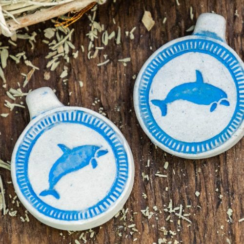 2 Clay Dolphin Pendants,  High Fired Clay, Round Blue  Color, Beach Pendants, Jewelry Supply