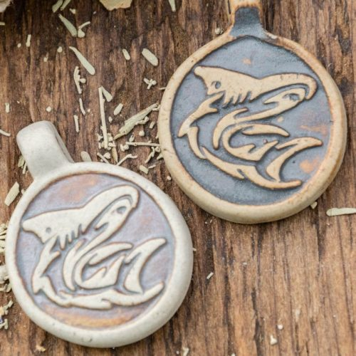 2 Clay Shark Pendants,  High Fired Clay, Round Natural Color, Hemp Pendants, Jewelry Supply