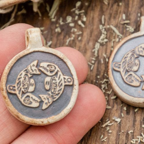 2 Fish  Pendants,  High Fired Clay, Round Natural Color, Hemp Pendants, Jewelry Supply