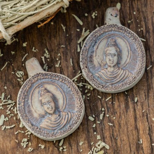 2 Raku Clay Buddha  Pendants,  High Fired Clay, Round Natural Color, Meditation Necklace Pendants, Jewelry Supply