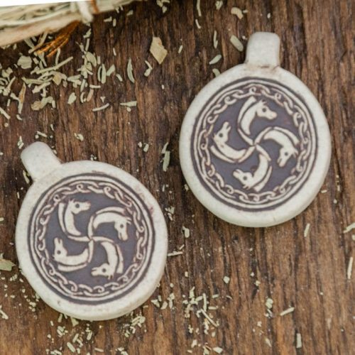 2 Raku Clay Horse  Pendants,  High Fired Clay, Round Natural Color, Animal Necklace Pendants, Jewelry Supply