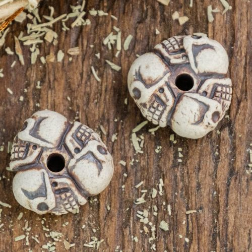 2 Skull Beads, Raku Clay Pendants,  natural Color, Gift For Men,  Jewelry Supplies