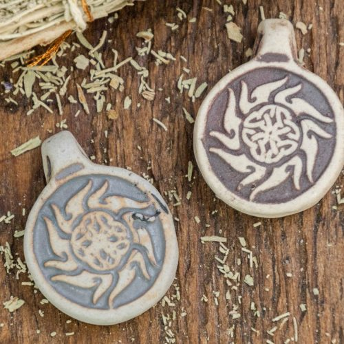 2 Tribal Celtic Pendants,  High Fired Clay, Round Natural Color, Celestial  Pendants, Jewelry Supply