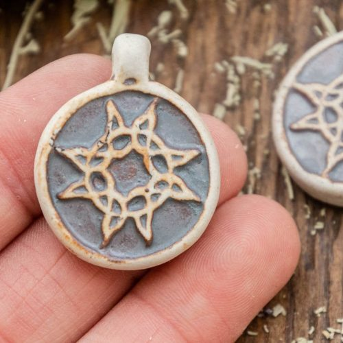 2 Tribal Sun  Pendants,  High Fired Clay, Round Natural Color, Celestial  Pendants, Jewelry Supply