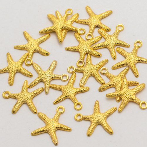 20 Starfish Charms, bright gold tone pendant for   beach jewelry  - C21