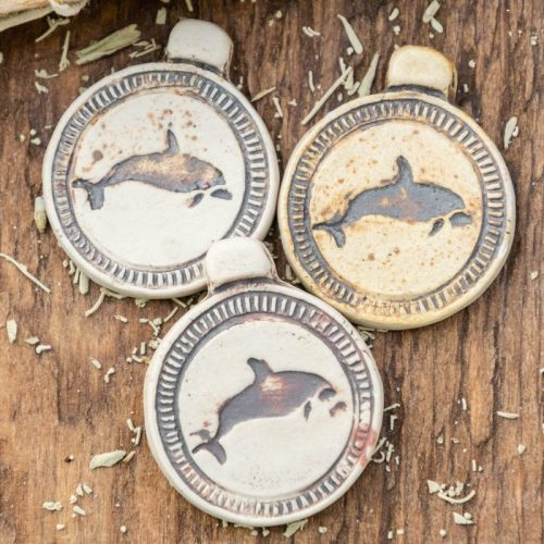 3 Clay Dolphin  Pendants,  High Fired Clay, Round Natural Color, Beach Pendants, Jewelry Supply
