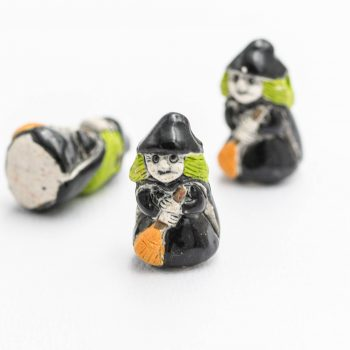 3 Halloween Witch  Pendants,   high fired clay, painted   beads,  witch  charms,   2mm hole, Halloween Jewelry Supply