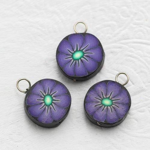 3   Purple Flower  Clay Disc Charms,  Bracelet Charms,   Fimo Pendants,  Jewelry   Supply -B2173