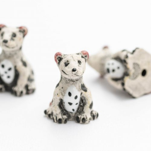 3 Spotted Dog  Pendants,   painted animal beads,  dog  charms,   2mm hole, Halloween Jewelry Supply
