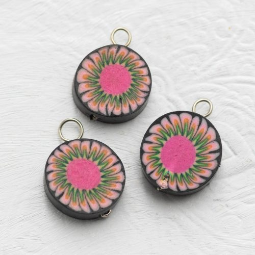 3   Sunflower  Clay Disc Charms,  Bracelet Charms,   Fimo Pendants,  Jewelry   Supply -B2173