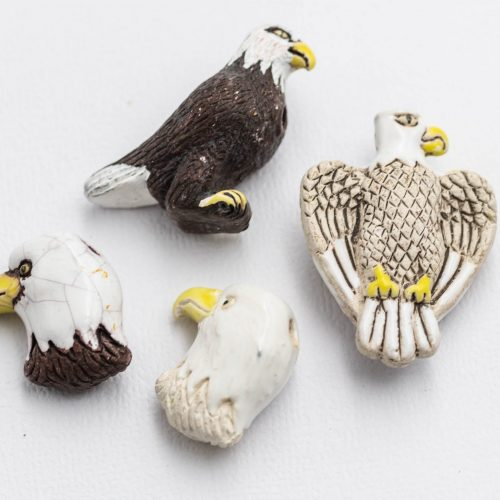 4 Eagle Pendants, painted high fired clay,   bird   charms, kids pendants, 2mm hole, Jewelry Supply