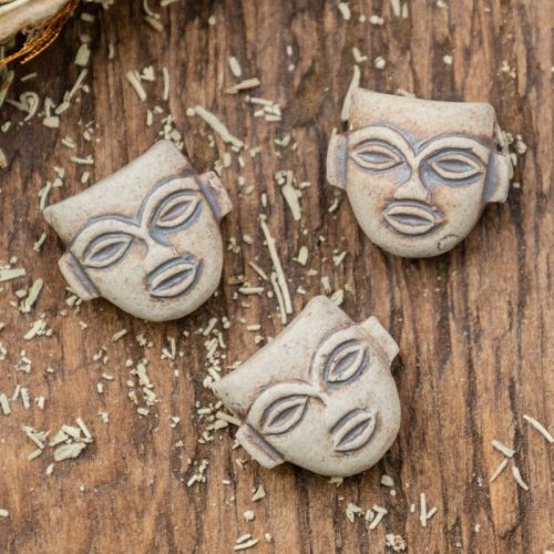 5 Clay Face Pendants,  High Fired Clay, natural Tan  Color,   Jewelry Supply