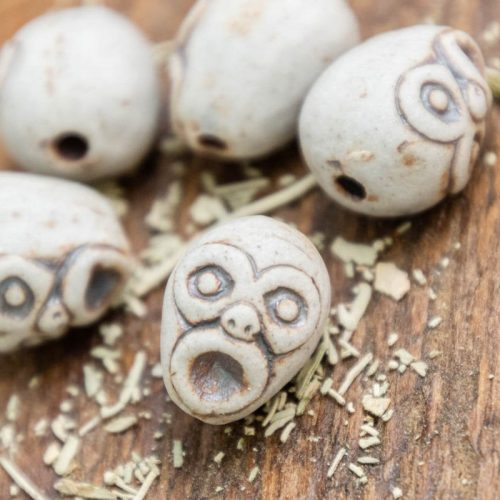 5 Skull Face Beads,  High Fired Clay, Natural Color, Halloween Pendants, Jewelry Supply
