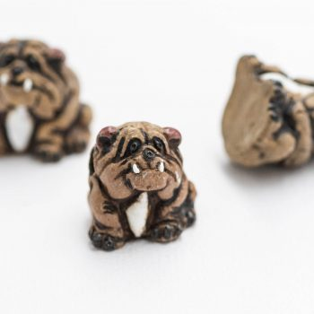 Bulldog  Pendants,  Dog charms, Animal beads,  2mm hole, Jewelry Supply - 3 pieces