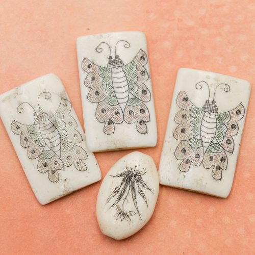 Carved bone pendants, white ox bone, butterfly and nature designs - set of 4 -B2435