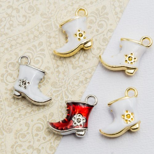 Christmas Boot  Charms,   enamel    Pendants, holiday crafts, 5 pieces  -C1195