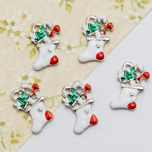 Christmas Stocking  Charms,   enamel  Tree  Pendants, holiday crafts, 5 pieces  -C1193