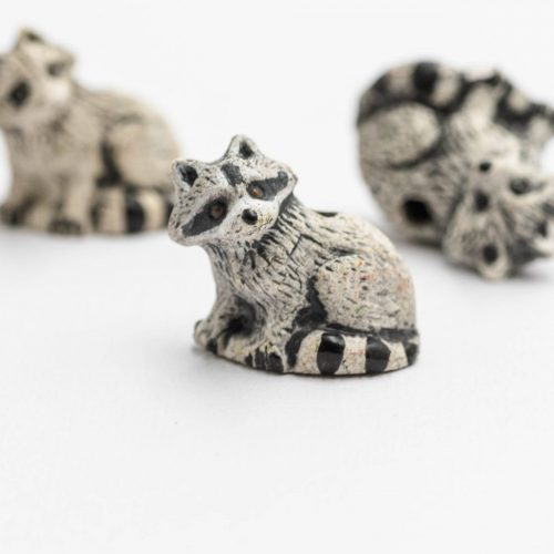 Clay Racoon  Pendants,  painted animal charms,  animal  Pendants, 2mm hole, Jewelry Supply - 3 pieces