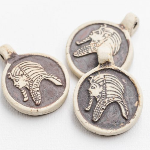 Egyptian Man Necklace  Pendants, clay  charms,   raku high fired clay, 2mm hole, Jewelry Supply