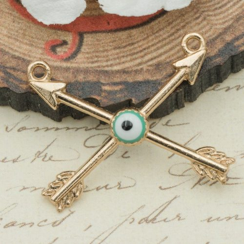 Evil Eye  Arrow Pendant, Bow and Arrow Charm, Necklace Connector, jewelry findings - 5 pieces  -C872