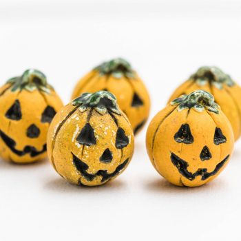 Halloween Pumpkin  Pendants,  painted Halloween charms, Orange Pumpkin Beads 2mm hole, Jewelry Supply - 3 pieces