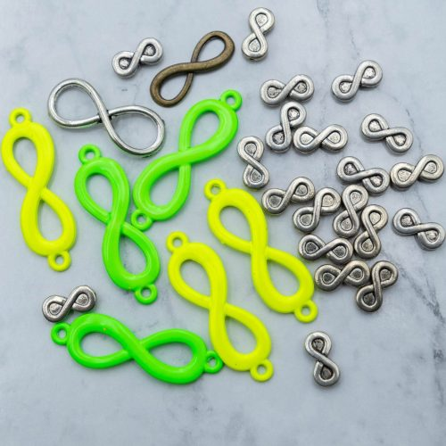 Infinity  Charms, Metal Beads,   32mm,  Figure Of 8, Jewelry Charms, 28 pieces  - C301