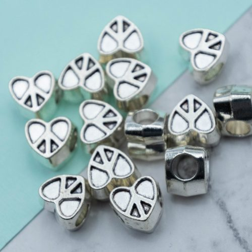 Large Hole Metal Heart Beads, Silver Peace Sign  beads,  peace and love, boho, hippie  jewelry findings - C1201