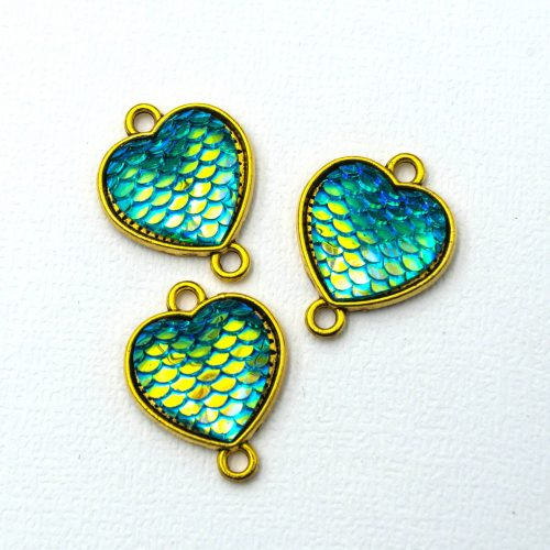 Mermaid Heart  Charms,  Enamel Jewelry Links,  beach charms, gold tone  findings, 5 pieces - C1213