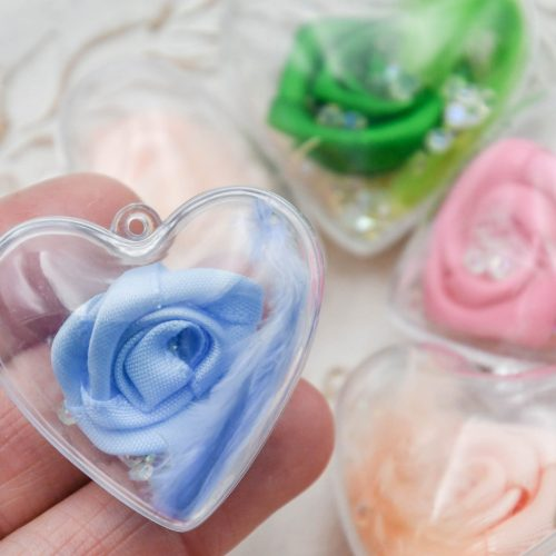 Mothers day  heart Rose pendants, Plastic Hollow Cage, fabric Flowers, 40mm, 5 pieces - C3165