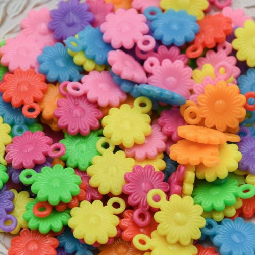 Plastic Flower Charms, Summer pendants, Mixed Colors, 2mm hole - 30 pieces -B3155