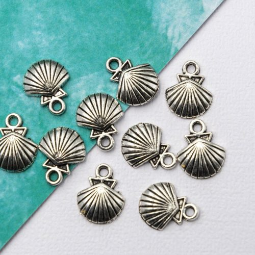 Silver Shell Charms, Beach Bracelets Charm, alloy metal,  12mm, 12 pieces - C1211