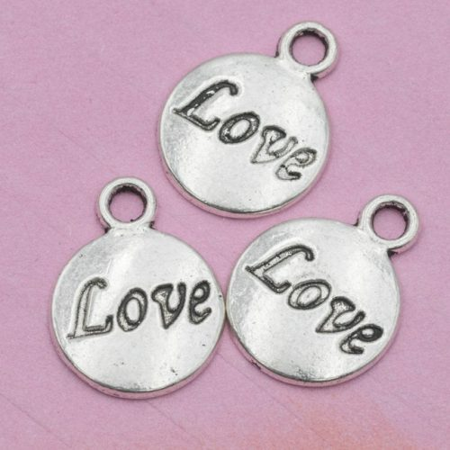 Silver   Wedding  Charms, antique metal,  stamped charms, word Love, 11mm -C758