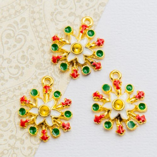 Snowflake  Charms,   enamel    Pendants, holiday crafts, 3 pieces  -C1188