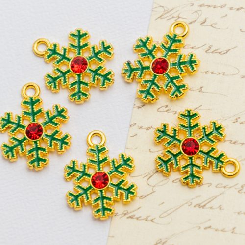 Snowflake  Charms,   enamel    Pendants, holiday crafts, 5 pieces  -C1198