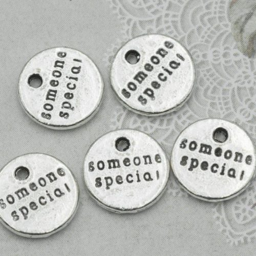 Someone Special Charm, 25pc, 10mm, Inspiration Charms,  Bracelet Charm, Antique Silver -C760