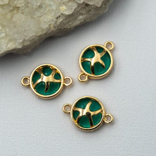 Starfish Connector Charms, 5pcs, Gold Tone Green,   Enamel jewellery Connector -C1136