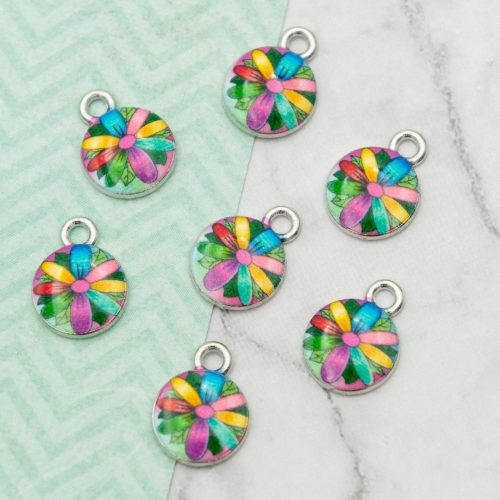 Tiny Flower Charms, 5 pieces,   10mm,  alloy metal - C1151