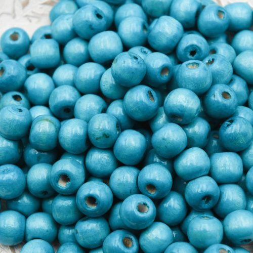10mm Turquoise Wood   Beads, painted,  round 3mm hole   - 100 pieces -B3085