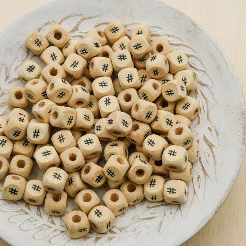 50 Wood Alphabet Beads 10mm,  cube,   Hash Tag symbol,  word bracelets    -B3121
