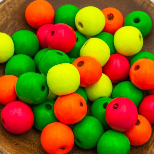 Large Neon Colored Wood Beads 20mm,  Round painted macrame beads, 4mm hole   - 20 pieces -B2969