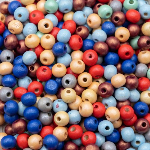 Painted Wood   Beads 8mm, round 2mm hole, craft, hobby, jewelry making    - 125 pieces -B3088