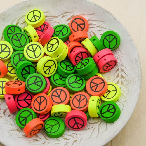Peace Sign Wood  beads,  Bright Neon Colors,   16mm, flat round spacer  -B3126