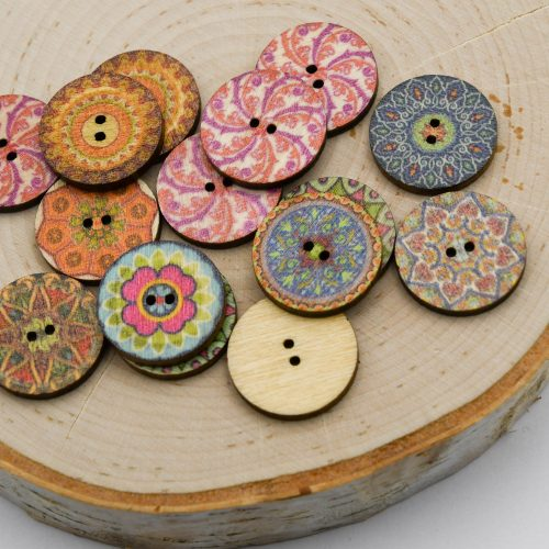 Printed Wood Buttons  2 hole, 20mm diameter - mixed designs - B3073