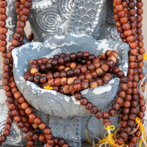 Rosewood Mała Beads, Yellow Nylon tassel, 108 Beads, wooden bead strands, Burma Beads 10x9mm  -B3087