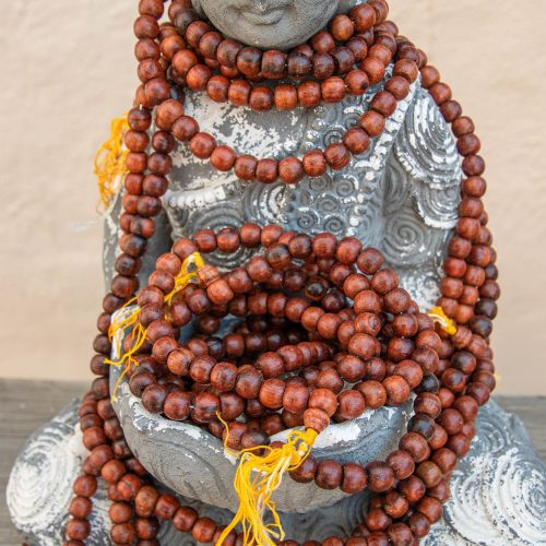 Rosewood Mała Beads, Yellow Nylon tassel, 108 Beads, wooden bead strands, Burma Beads 9x8mm  -B3088