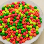 Small   Wooden  Beads 8mm, painted neon colors, spacer beads, kids crafts - 75 pieces -B3124