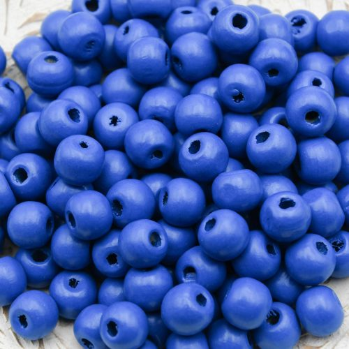 Wood   Beads 10mm, blue painted,  round 3mm hole   - 100 pieces -B3083